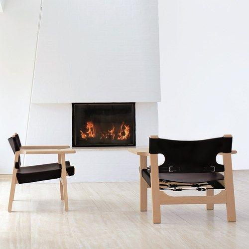 Den spanske stol fåtölj - Den spanske stol fåtölj - obehandlad ek, svart läder