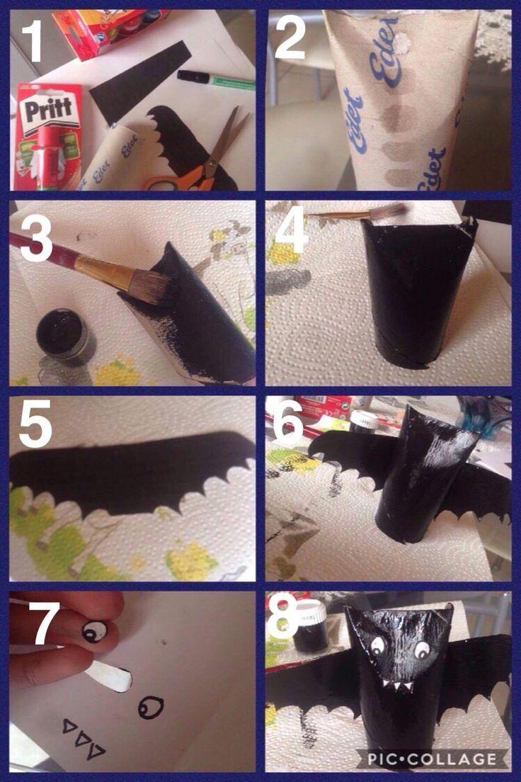 Kleine vleermuisjes knutselen als decoratie voor Halloween (stap per stap)