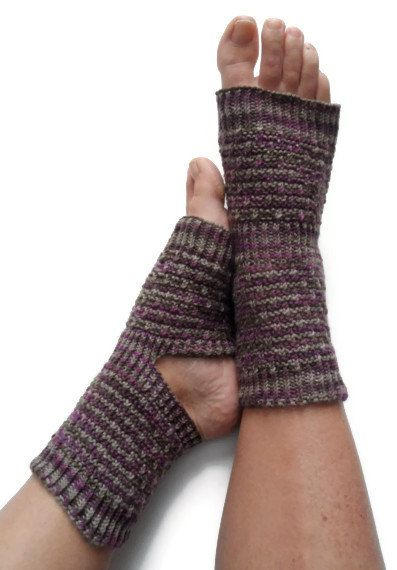 Yoga Socks Hand Knit in Purple and Brown Pedicure by MadebyMegShop, $35.00
