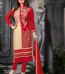 Buy Beige and red embroidered glaze cotton unstitched salwar with dupatta dress-material online