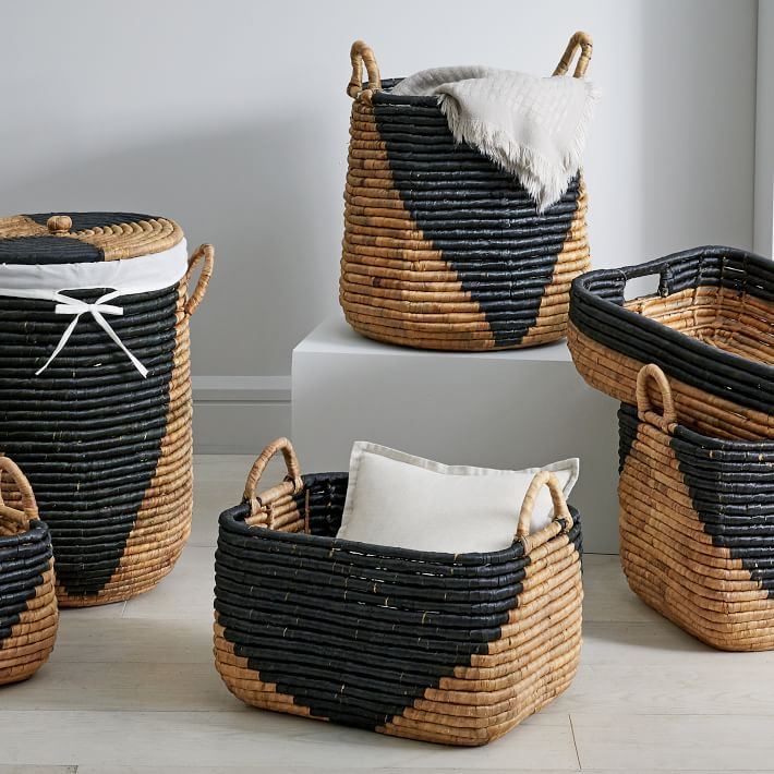 Woven Seagrass Baskets Natural Black In 2020 Seagrass Basket Tall Storage Baskets White Woven Baskets #throw #basket #for #living #room