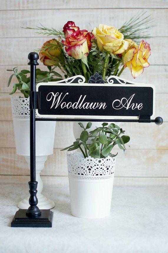 Instock Black Street Sign Post Table Number Holder - wedding table sign