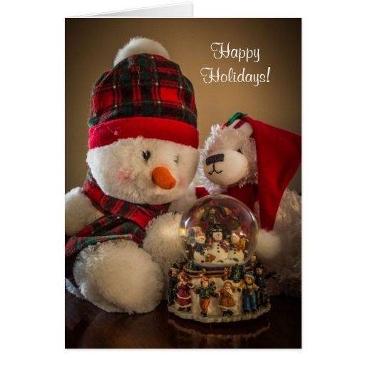 Snowman and Bear with Snowglobe Greeting Card