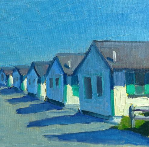 Chris Gillis: Truro Bay Cottages 8×8 oil on canvas (Cape ...