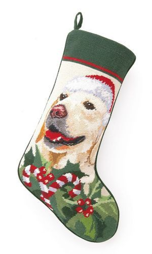 Golden Retriever Dog Needlepoint Christmas Stocking – For the Love Of Dogs - Shopping for a Cause