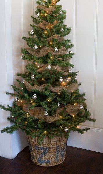 Christmas Tree Decorated with Burlap Ribbon