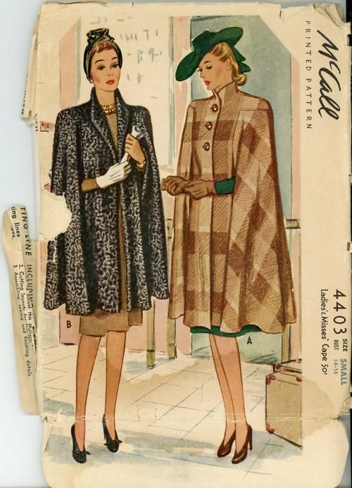 McCall 4403 1941 Cape Pattern #fallintofashion14 and #mccallpatterncompany