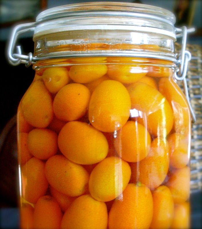 This has got to be good. Cumquats in brandy.