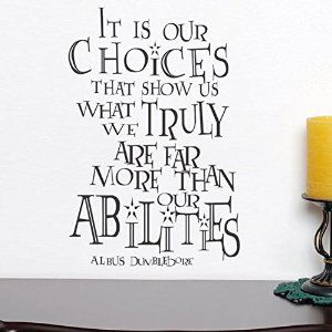 Amazon.com - It Is Our Choices Custom Vinyl Inspirational Wall Decal Harry Potter Quote Albus Dumbledore Saying Words Wall Letters Home Art Decoration Black -