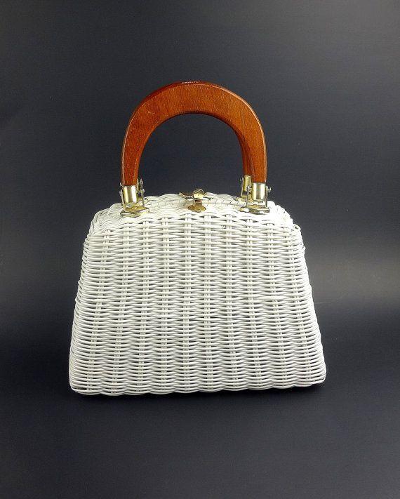 Magid White Vinyl Wicker Woven Handbag / Wicker by ClassiqueStyle, $28.00