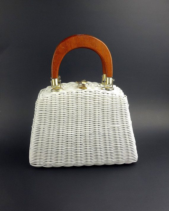 Magid White Vinyl Wicker Woven Handbag / Wicker by ClassiqueStyle, $28.00