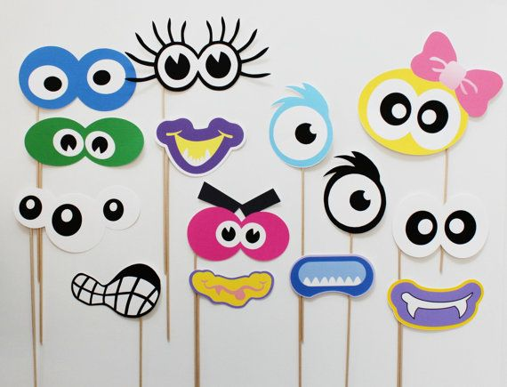 Monster Photo Booth Props. Monster Birthday Photobooth Props. via Etsy