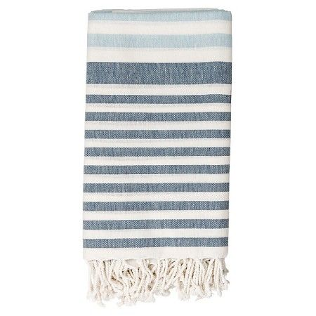 "Cotton Throw Blanket - White with Blue Stripes - 3R Studios : Target $30, 15""x30"""