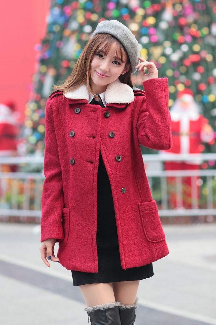 Latest fashion cute big lapel double-breasted slim coats MF-806