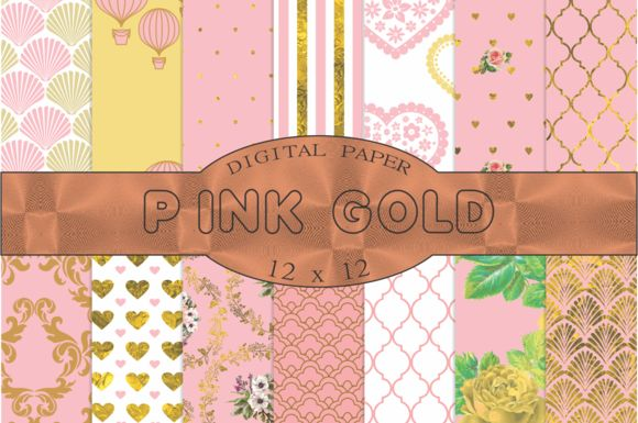 Pink and gold digital paper by Kiwi Fruit Punch on @creativemarket