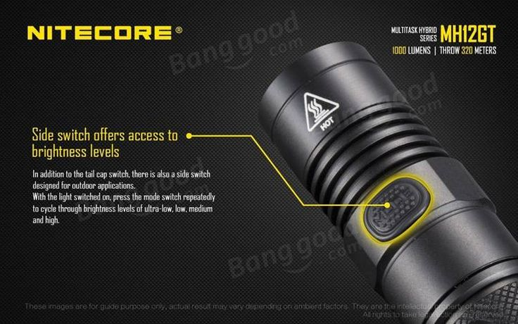 Nitecore MH12GT Xp-l Hi V3 1000LM Multitask Tactical Rechargeable LED Flashlight 320M