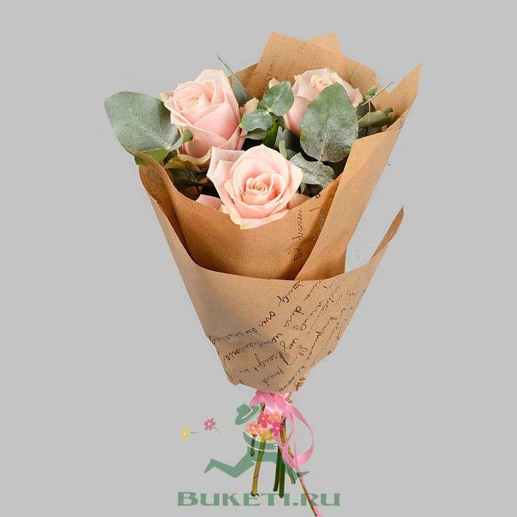 Белых роз, оформить красиво букет 3 5 розовых