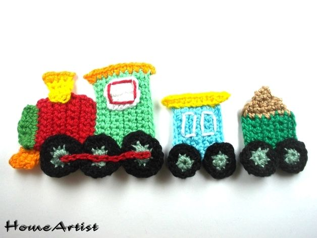 Patches – Crochet Applique Embellishments train – a unique product by HomeArtist on DaWanda