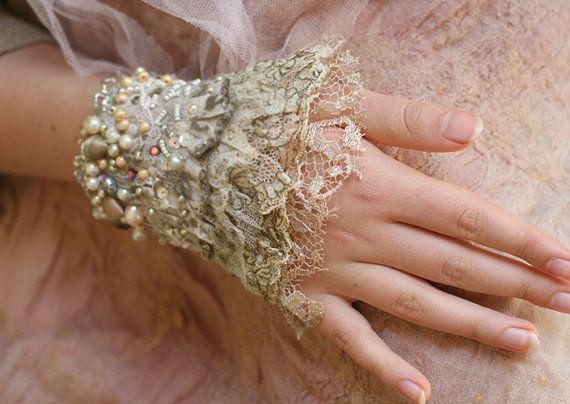Isolde shabby chic romantic delicate wrist wrap by FleurBonheur, $77.00