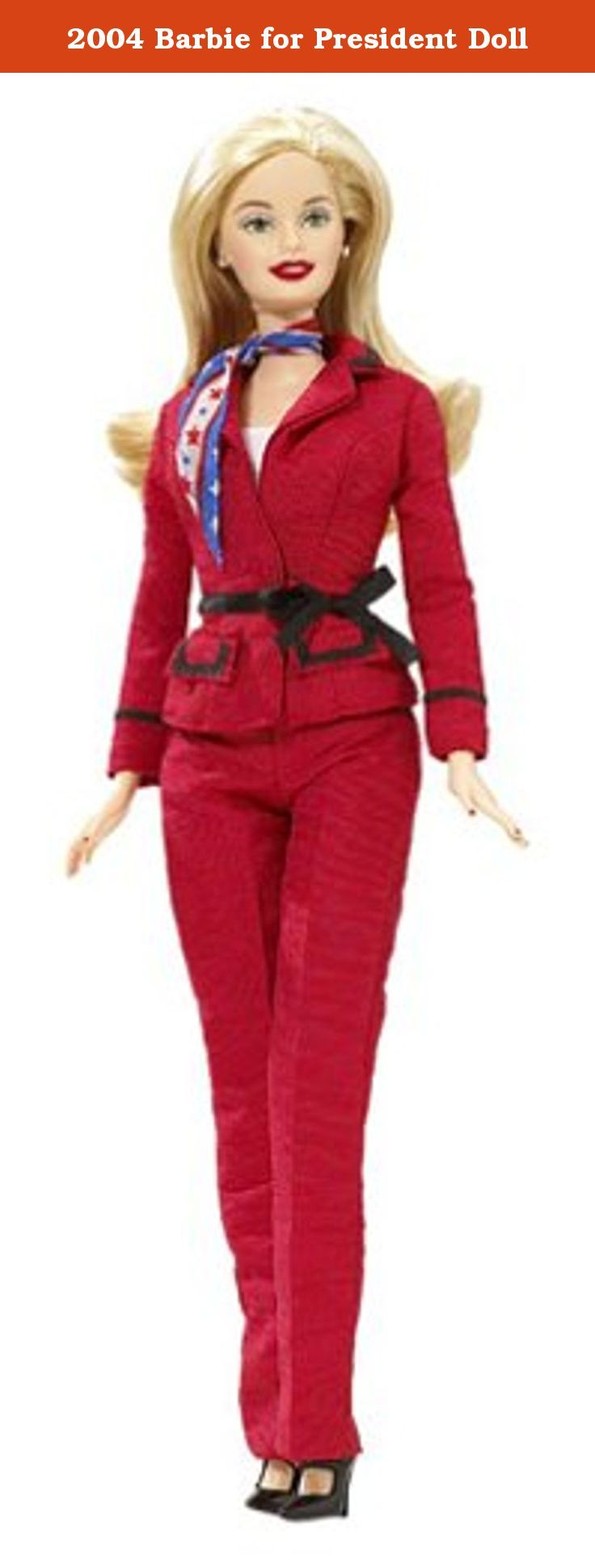 2004 Barbie for President Doll. Made in 2004, this Barbie doll is dressed in red, white, and blue to celebrate the Presidential election.