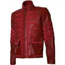 Men Military Style Biker Maroon Leather Jacket - Ogre