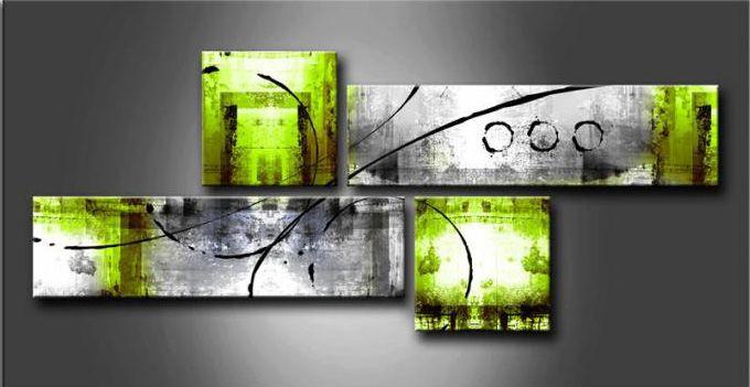 Lienzo con Bastidor Composición Cuadro Abstracto 4 Piezas Verde de ...