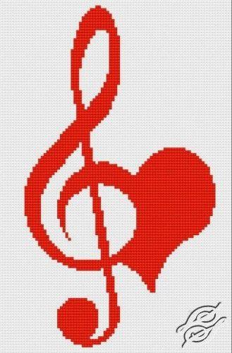Bonito gráfico de la clave de sol y un corazón...