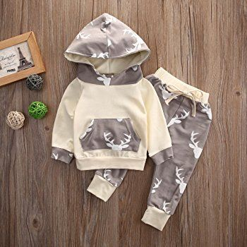 Baby Boy Girl 2pcs Christmas Suit Hoodies Deer Print Long Sleeve Top+Long Pants (0-3months, Beige): Amazon.ca: Clothing & Accessories