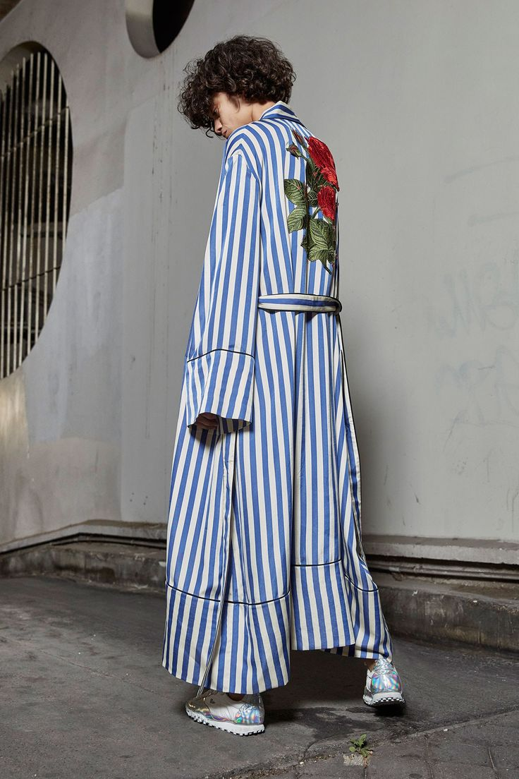 Off-White Resort 2017 Collection Photos - Vogue ...that's my new dressing gown, right there, stripey shirting cotton with a HUGE red rose applique on the back, mmmm...