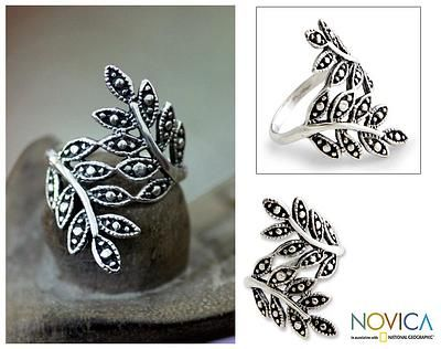 Sterling Silver Leaf Wrap Ring - Near You | NOVICA