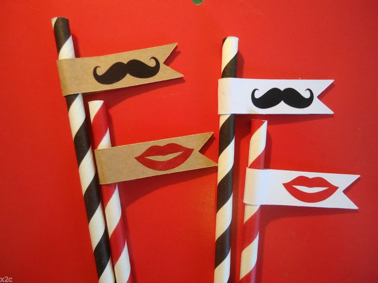 25 Paper Straw Flags Tags Moustache and Lips Wedding Party Flags Straws Party
