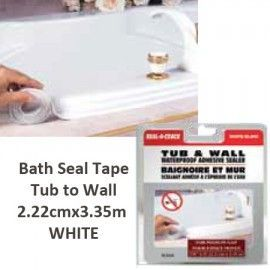 BATH SEAL TAPE. FLEXIBLE TUB TO WALL PERMANENT WATERPROOF HIGH PERFORMANCE ADHESIVE SEALER TAPE. NO MESS EASY APPLICATION. PROFESSIONAL FINISH. WHITE Tub-Wall 2.22cm x 3.35m
