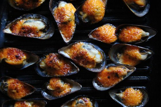 Broiled Mussels with Dynamite Sauce | 24 mussels, steamed 1/2 cup Kewpie mayonnaise 1 tablespoon Sriracha  1 small garlic clove,  1 teaspoon sugar