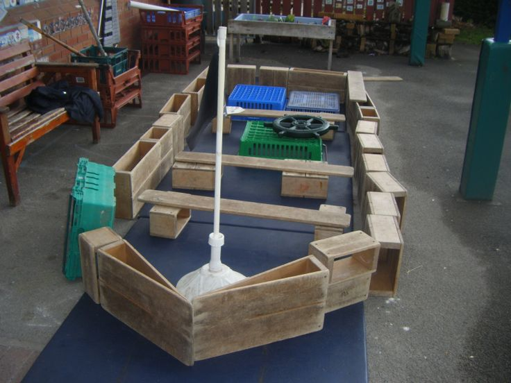 Our Pirate Ship - made using 'Community Playthings' blocks - a table shade pole made our mast!