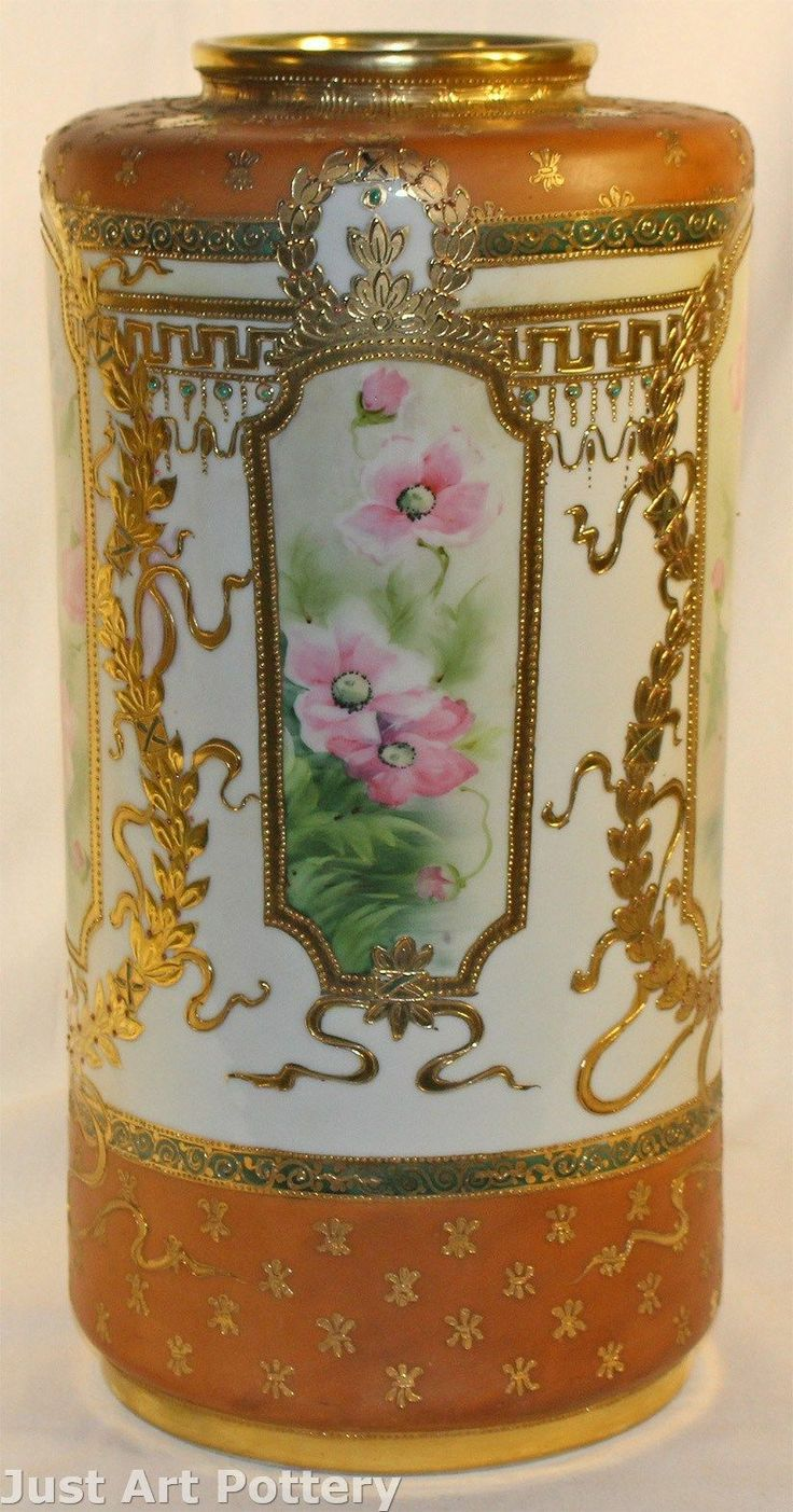 1330 best nippon images on pinterest porcelain chocolate coffee antique nippon pottery tall beaded and gilded hand painted vase reviewsmspy