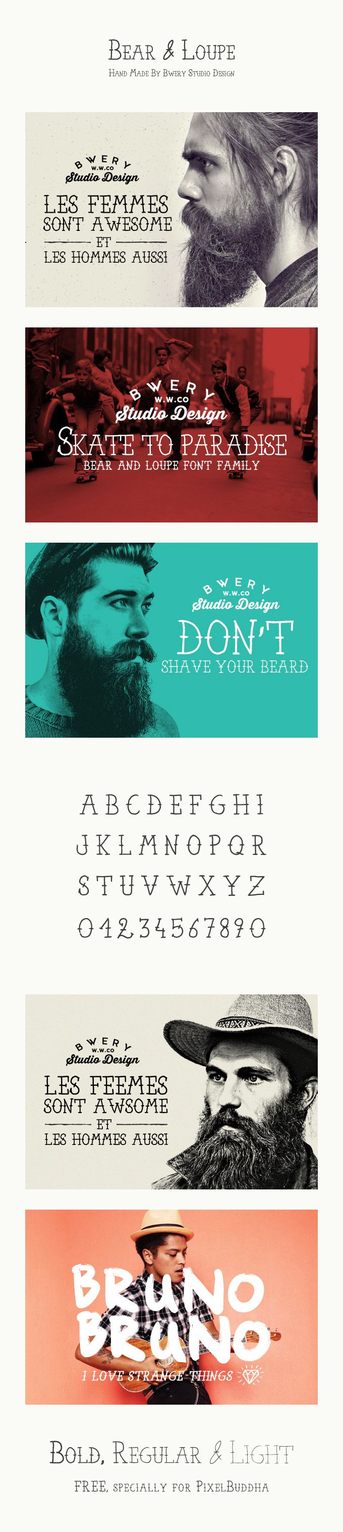 Bear & Loupe Font -- A creative free font designed by Rachid Aitouaissi for PixelBuddha.