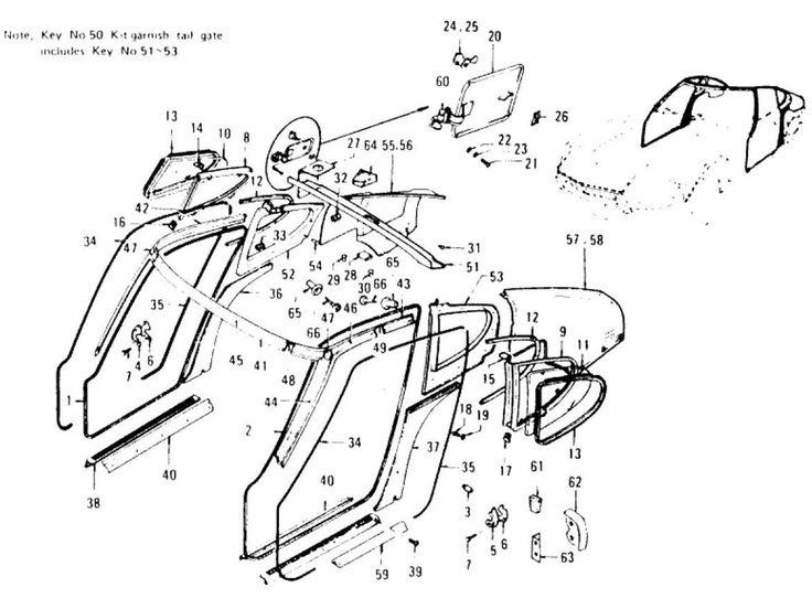 Datsun 240Z Body Side Trim & Side Window (To Jul.-'73