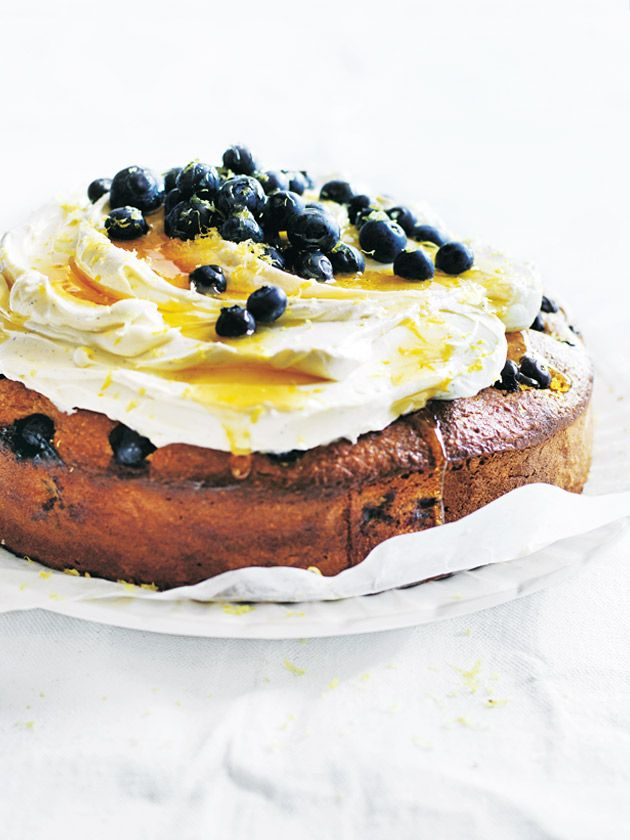 blueberry and lemon cake with yoghurt icing