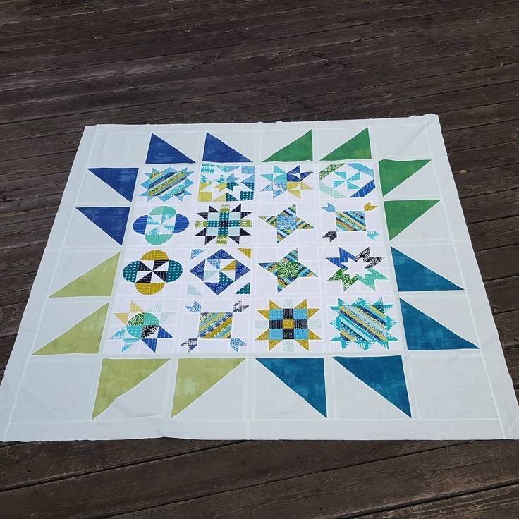My friend and I swapped our blocks in October. This weekend I finally added the borders. #sistersamplerquilts #patchworkquilt #blueberryparkfabric #quilts I wonder how long it will take me to get around to quilting it 😅😅