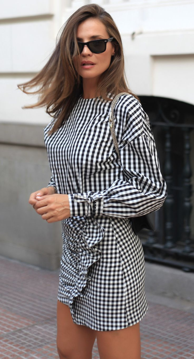 Black and white gingham dress