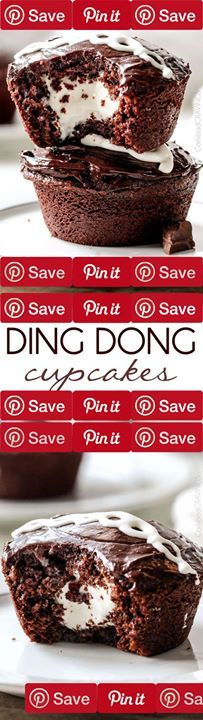 the BEST homemade Ding Dong Cupcakes Ding Dong Cupcakes [Copycat]: moist chocolate cupcake a marshmallow filling frosted with chocolate ganache.