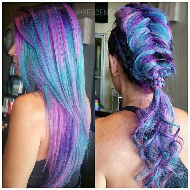 Mermaid Unicorn Rainbow Hair by Linh Phan Beautiful braid HOT Beauty Magazine facebook.com/hotbeautymagazine