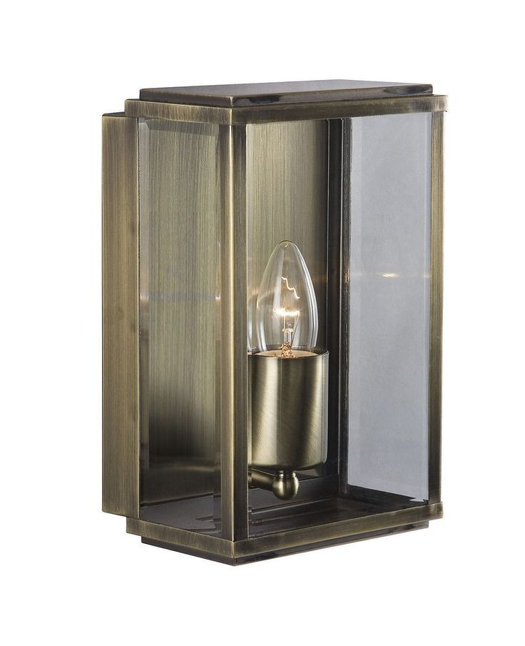 Outdoor lighting 1 light modern outdoor wall light antique brass finish with glass rated