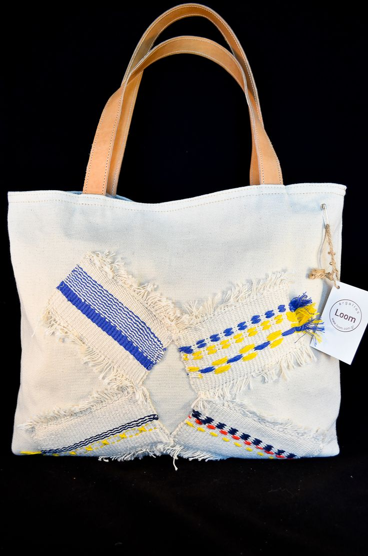 handmade double face  bag with woven pieces
