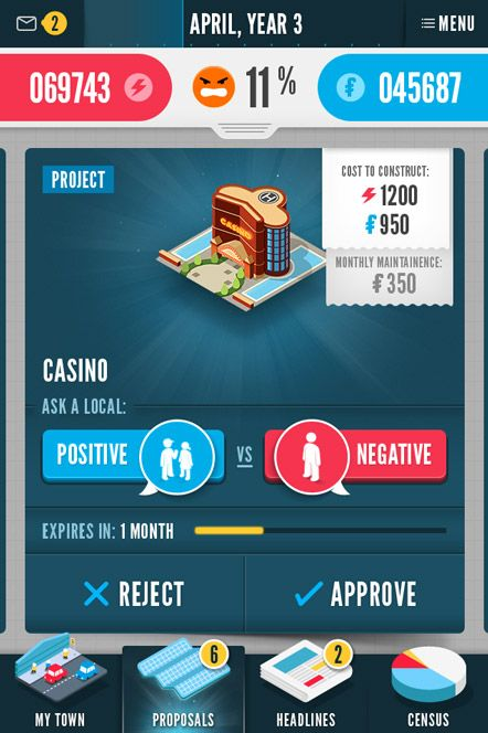 SCREENSHOT 2 - This is a proposal screen for the Casino. It tells the cost to build a Casino. There are two buttons. A blue one that can be ...