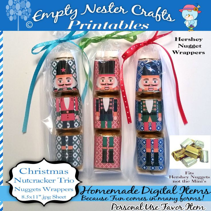 Hershey Nuggets Candy Wrapper, Christmas - nutcracker trio, party favor,printable, download, personal use only by EmptyNesterCrafts on Etsy