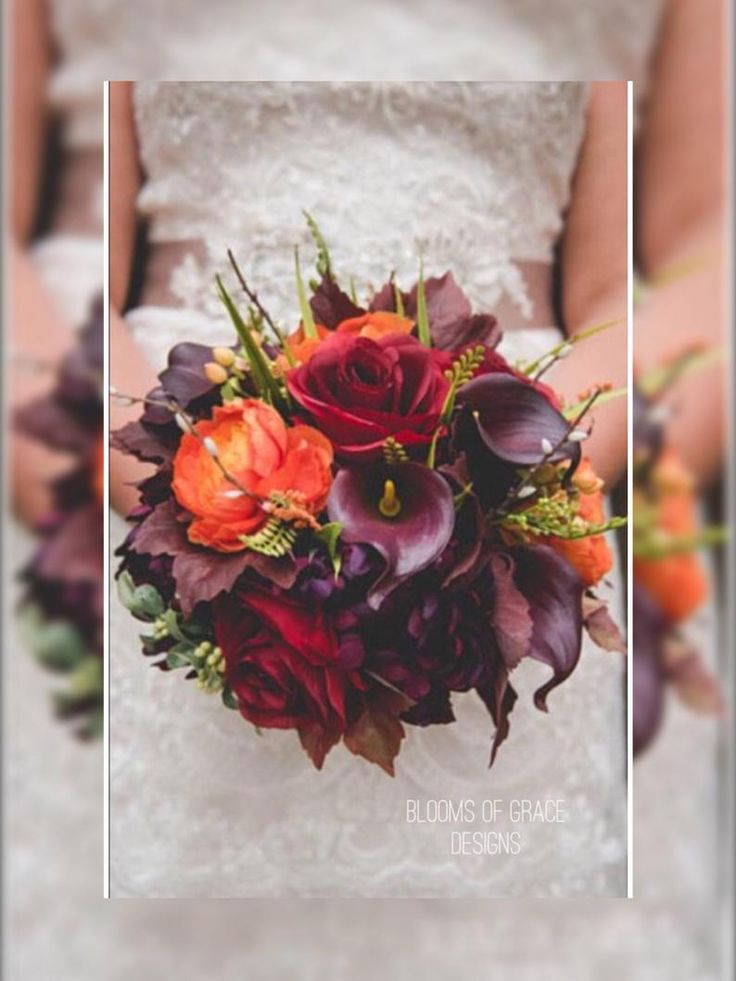 Fall wedding bouquet, plum wedding flowers, autumn bouquet