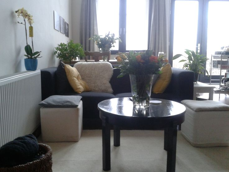 Living room full of flowers after my housewarming