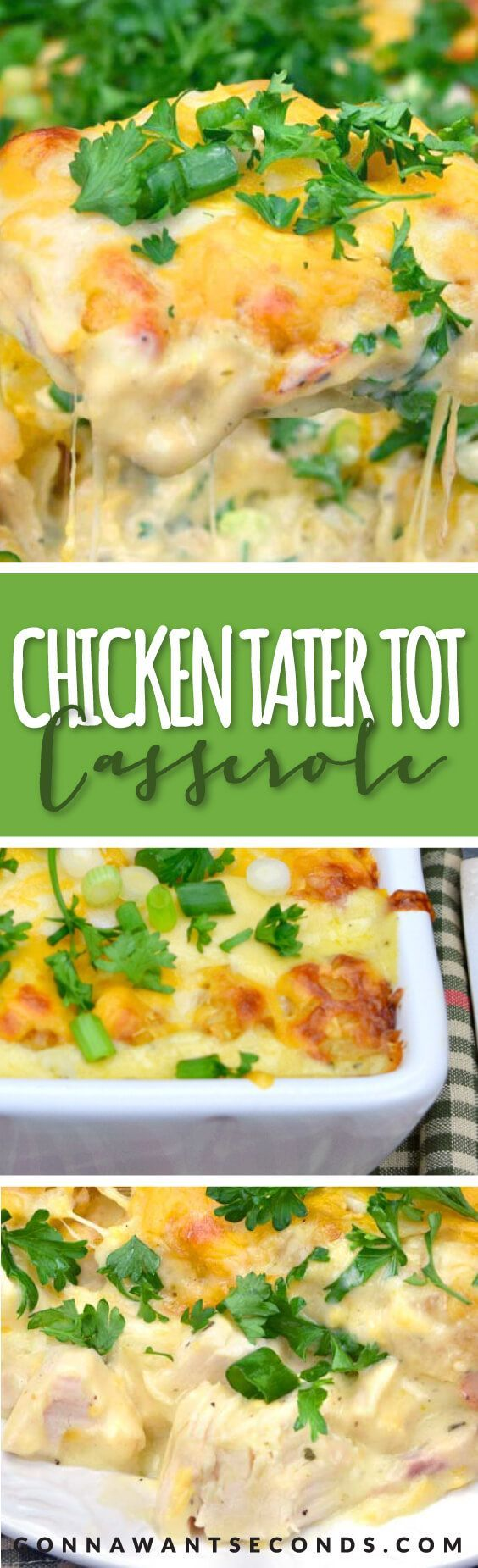 This casserole is one of those casseroles that my family just can't get enough of! Oooey~goooey, creamy and delicious. Loaded with chunks of Chicken and Bacon in a super Creamy Sauce then topped with Cheesy Tater Tots!