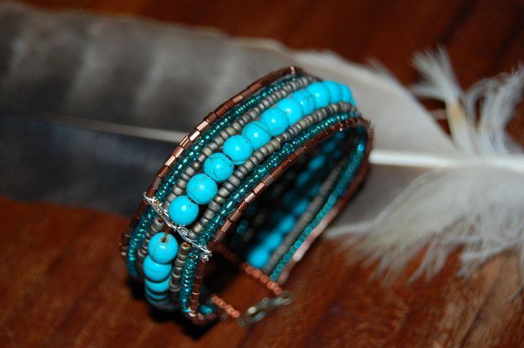 """Armband """"Inca"""" Drahtschmuck türkis Indianer Perlen"""